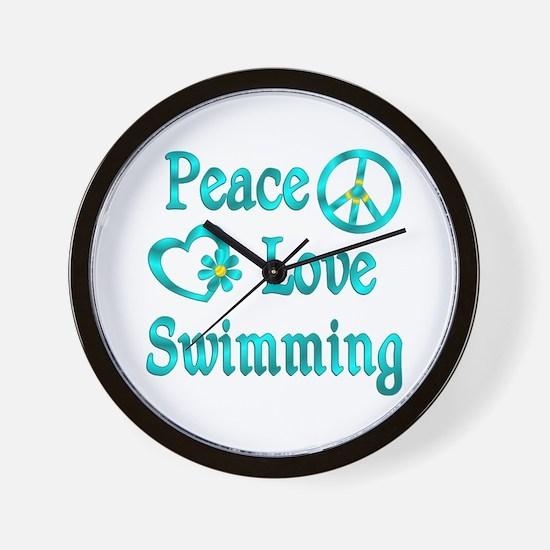 Peace Love Swimming Wall Clock