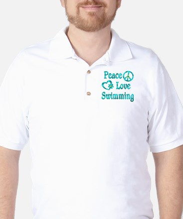 Peace Love Swimming Golf Shirt