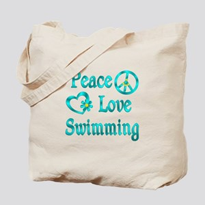 Peace Love Swimming Tote Bag