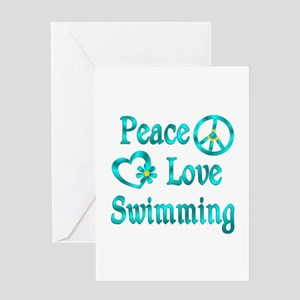 Peace love swim greeting cards cafepress peace love swimming greeting card m4hsunfo Images