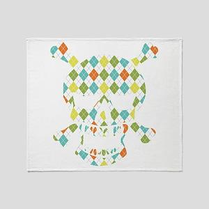 Skull Colorful Diamonds Throw Blanket