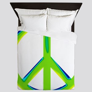green gradient peace copy Queen Duvet