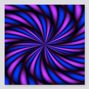 """Psychedelic 16 Square Car Magnet 3"""" x 3"""""""