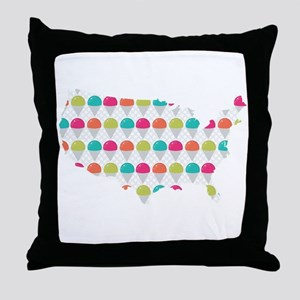 USA Silhouette Colorful Snowcones Throw Pillow