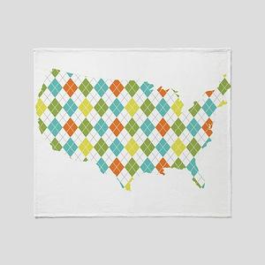USA Silhouette Colorful Diamonds Throw Blanket
