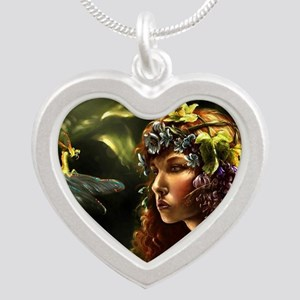 Dragon Fly, Fairy Silver Heart Necklace