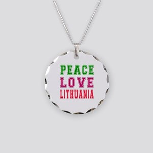 Peace Love Lithuania Necklace Circle Charm
