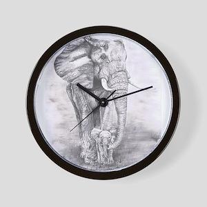 African Elephants Wall Clock