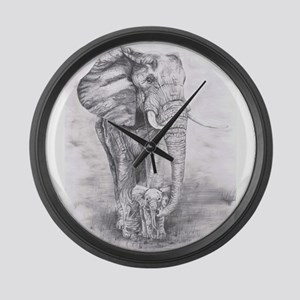 African Elephants Large Wall Clock