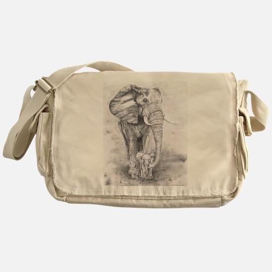 African Elephants Messenger Bag