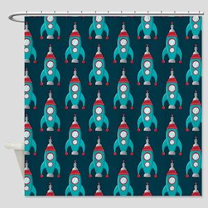 Rocket Ships Shower Curtain