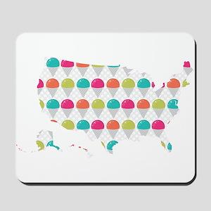 USA Silhouette Colorful Snowcones Mousepad