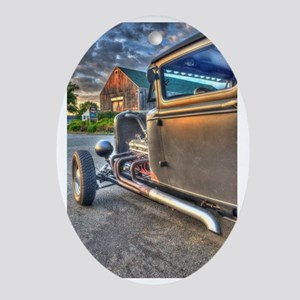 Hot Rod Oval Ornament