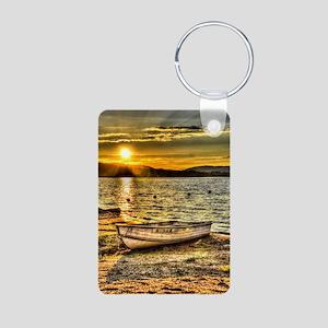 Sun Set over the lake Aluminum Photo Keychain