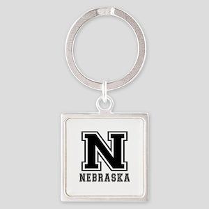 Nebraska State Designs Square Keychain