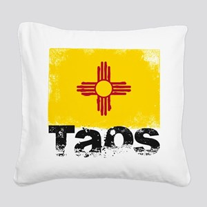 Taos Grunge Flag Square Canvas Pillow