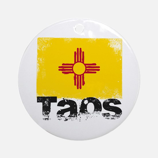 Taos Grunge Flag Ornament (Round)