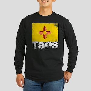 Taos Grunge Flag Long Sleeve Dark T-Shirt