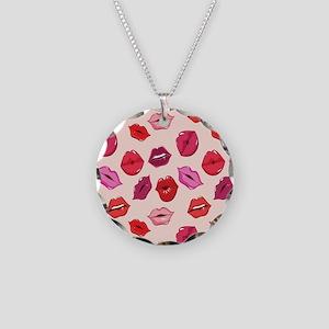 Kiss me Lips  Necklace Circle Charm