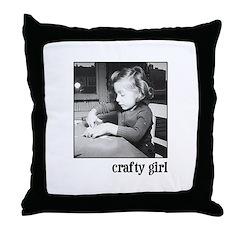 Crafty Girl Throw Pillow