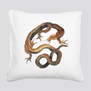 Japanese Dragon by Hokusai Square Canvas Pillow