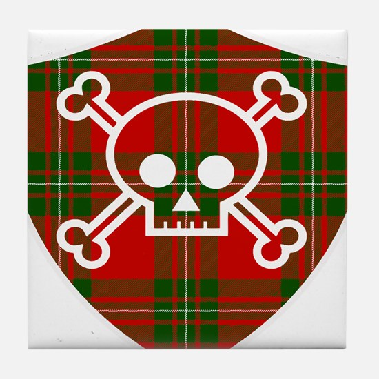 Mac Gregor Tartan Skull And Bones Shield Tile Coas