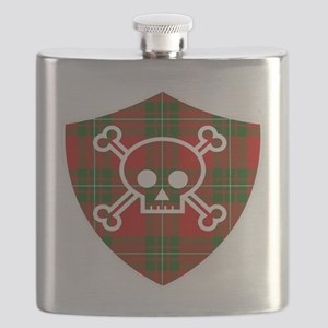 Mac Gregor Tartan Skull And Bones Shield Flask