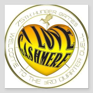 "I Love Cashmere Heart Square Car Magnet 3"" x 3"""