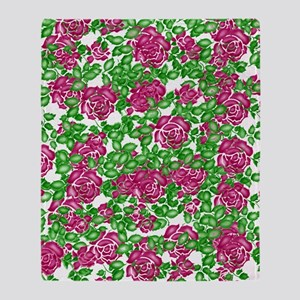 Old Fashioned Stencil Roses Throw Blanket
