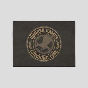 Catching Fire MockingJay Logo 5'x7'Area Rug