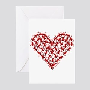 Red Ants Heart Greeting Cards (Pk of 10)