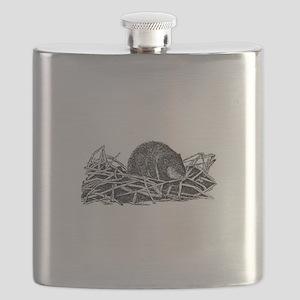 Muskrat (line art) Flask