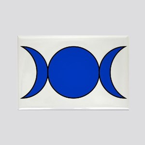 Blue Triple Moon Rectangle Magnet