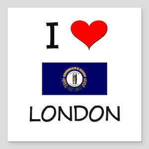 "I Love LONDON Kentucky Square Car Magnet 3"" x 3"""