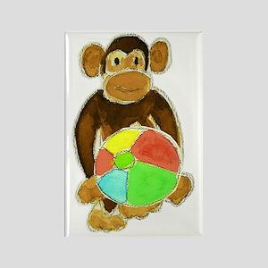 Beachball Monkey Loves the Beach Rectangle Magnet