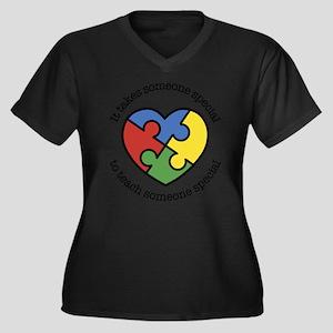 It Takes Som Women's Plus Size V-Neck Dark T-Shirt