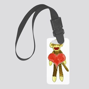 Sock Monkey Heart Small Luggage Tag