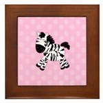 Cute Pink Zebra with Pink Dots Framed Tile