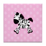 Cute Pink Zebra with Pink Dots Tile Coaster