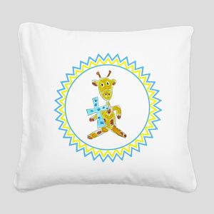 Giraffe Holding Cross Zig Zag Square Canvas Pillow