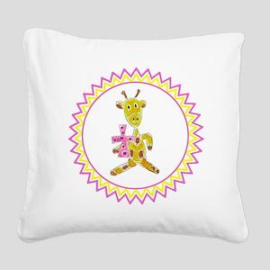 Giraffe Holding Pink Cross Zi Square Canvas Pillow