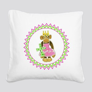 Princess Monkey Green Cross Z Square Canvas Pillow
