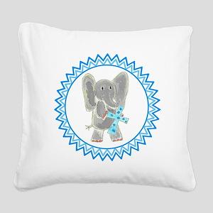 Elephant Holding Blue Cross Z Square Canvas Pillow