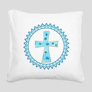 Polka Dot Blue Cross Zig Zag Square Canvas Pillow