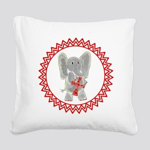 Elephant Red Cross Zig Zag Square Canvas Pillow