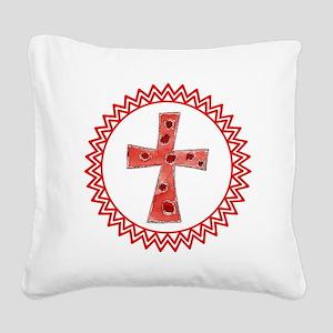 Red Polka Dot Cross Zig Zag Square Canvas Pillow