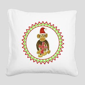 Santa Monkey Red Cross Zig Za Square Canvas Pillow