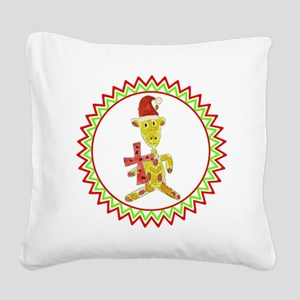 Santa Giraffe Red Cross Zig Z Square Canvas Pillow