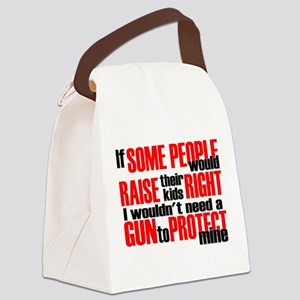 Gun Protect Children Canvas Lunch Bag