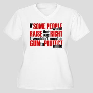Gun Protect Children Women's Plus Size V-Neck T-Sh